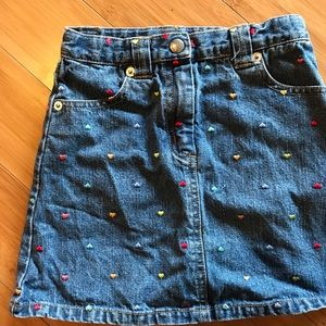 Denim Skirt with embroidered hearts!!